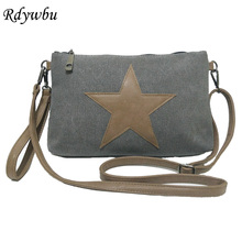 Rdywbu VINTAGE CANVAS BIG STAR SHOULDER BAG - Women's New Casual Travel Shopping Crossbody Clutch Handbag Wristlets Bolsos SJ318(China)