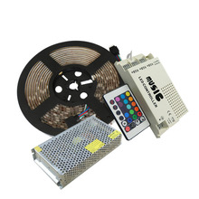 5mX high quality RGB led strip 5050SMD 300 LEDs/Roll +led IR music controller+12V 10A Power supply free shipping