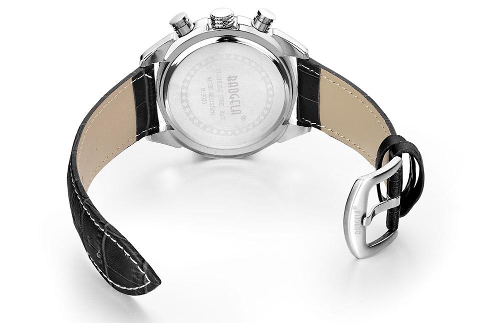 Baogela Mens Chronograph Luminous Hands Date Indicator Fashion Causal Leather Strap Sport Quartz Wrist Watches 12