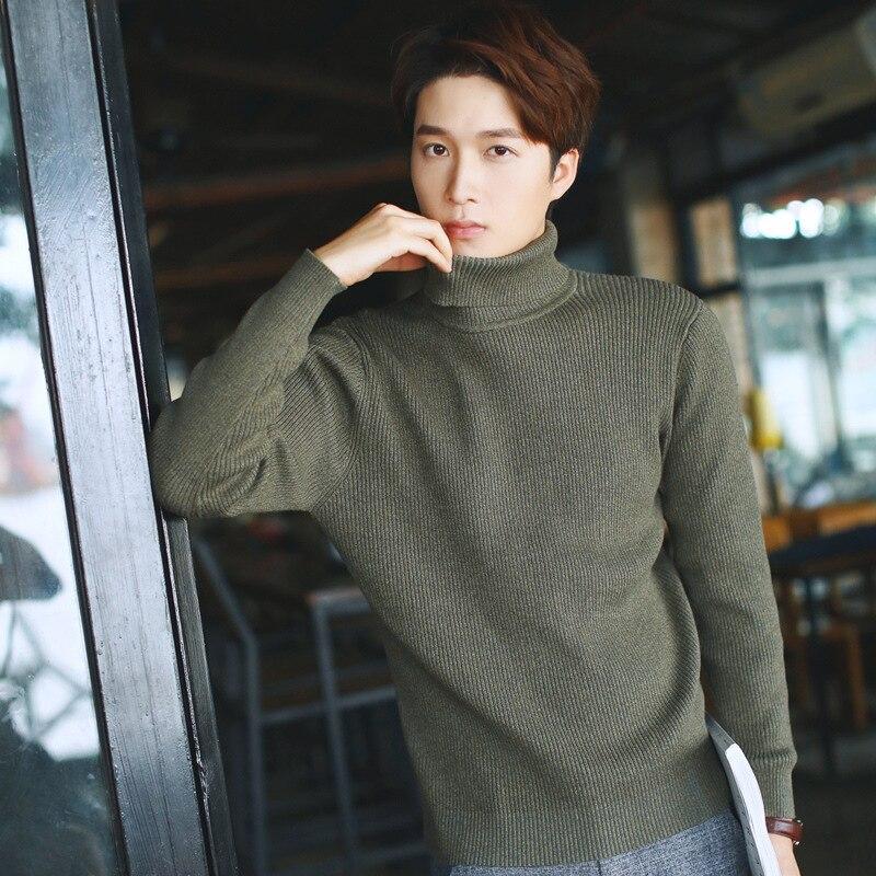 New Arrive Men Turtleneck Sweater Cotton Solid Sli...