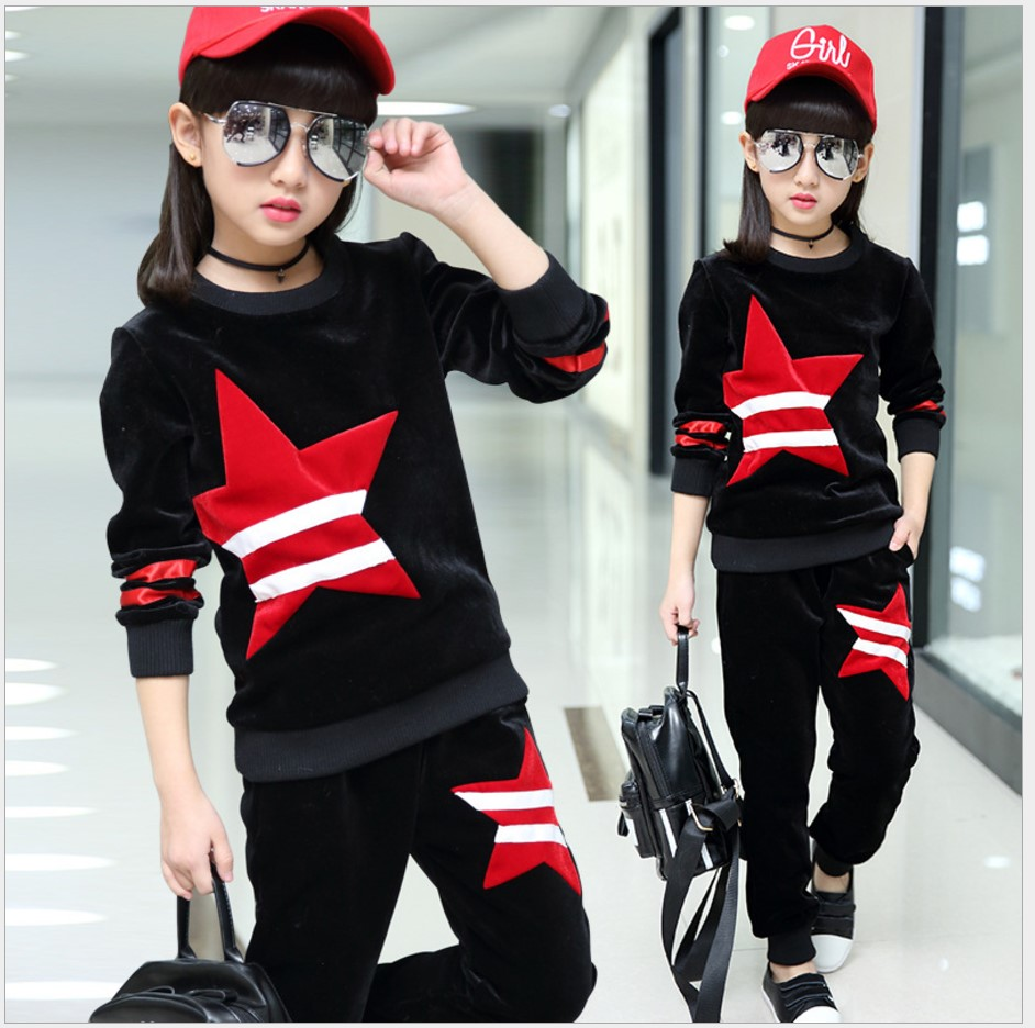 Children Sports Suit 2017 Winter Tracksuit Kids Teenage Girls Clothes Two-piece Set Children Clothing School Girl Outfit 6 Year <br>