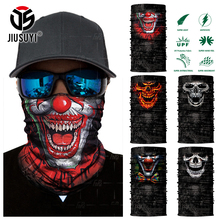 3D Seamless Clown Joker Skull Skeleton Neck Warmer Face Mask Head Scarf Bandana Headband Military Headwear Halloween Party