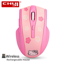 CHYI New Arrival Wireless Mouse Hello Kitty Gaming Mouse Rechargeable Gamer Mause Optical Mouse Hellokitty Pink Computer Mice(China)