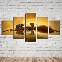 AtFipan 5 Panel Canvas Painting High quality HD Price Great Art African Elephant Pictures Modular Modern Home Decor Unframed(China)