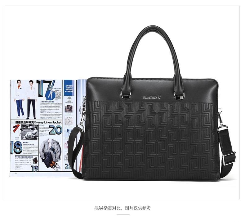Playboy handbag leather briefcase for laptop business bags men's briefcase portfolio male men's bag hommes porte-documents