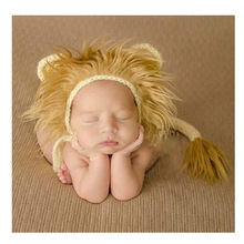 Lion Newborn Photography Hat and Tail Set Newborn Crochet Infant Baby Hat Cap Newborn Animal Photo Props(China)