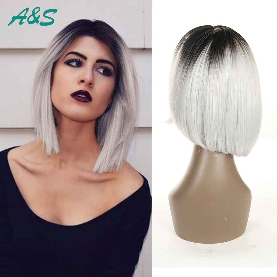 Gorgeous heat resistant 1B white ombre white short lace front bob wigs with baby hair peruca cosplay white wig straight 8 inch <br><br>Aliexpress