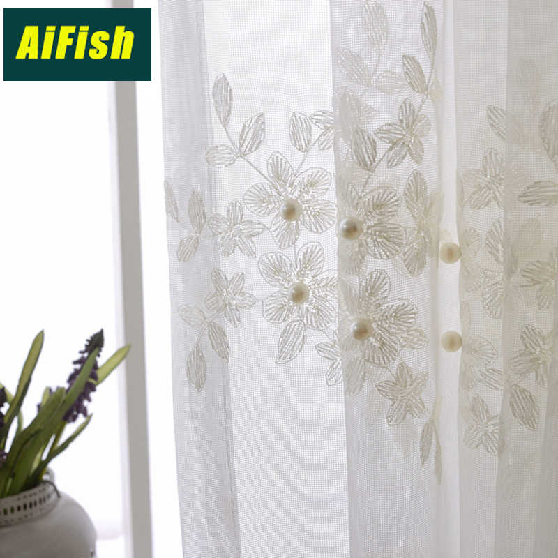 Flora Beaded Embroidered Lace Sheer Curtains for Living Room White Curtain Tulle Window Drapery for Bedroom French Door WP226&3