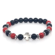 Red Coral and Black Lava Stone Natural Stone Beads Cross Stretch Elastic Mens Women Bracelet(China)