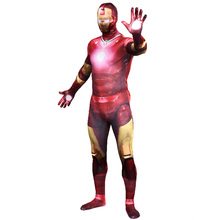 Free shipping Avengers 2 Age of Ultron Iron Man costume adult cosplay party full bodysuit zentai halloween jumpsuits custom(China)