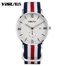 YISUYA Blue White Red Nylon Band Strap Casual Quartz Wristwatches Unisex Trendy Modern Men Women Sport Watch Date Waterproof