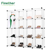 Finether 16-Cube Interlocking Modular Open Storage Organizer Shelving System,Shoes Rack Stand Shelf Shoes Organizer Storage(China)