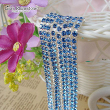 2017 New Style Close Silver Base Light Blue Crystal Glass SS6 SS12 Sew On Rhinestone Chain For DIY Beauty Accessory,Nail Art