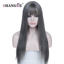 SHANGKE 26'' Long Straight Gray Wig Heat Resistant Synthetic Hair Wigs For Black White Women Natural Fake Hair Pieces Hairstlyes