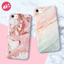 AKI Fashion Marble Phone Case for iPhone 6 6S Plus Case Classic Black White Pink for iPhone 7 8 Plus Cases Cover