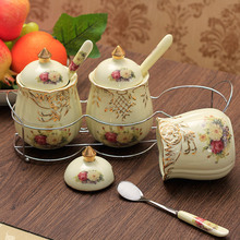 Beautiful Seasoning bottle ceramic 3pcs/set spice jar European style sauce pot kitchen supplies container storage canister tank