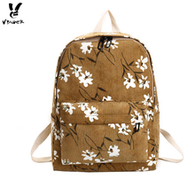 Vbiger Stylish Canvas Backpack Casual Shoulder Bag Multi-functional School Bag for Girls, Beautiful Flower Printing Fresh Bags(China)