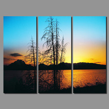 3pcs light blue sky decoration river lake wall art picture landscape mountains Canvas Painting living room home decor unframed