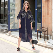 2017 Korean Fashion Black Blue Summer Women Shirt Dress Buttons Up Denim Ripped Fringes Style Girls Casual Wear Midi Dress(China)