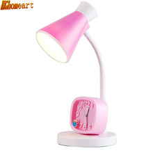 Top Contemporary Table Lamps 110v-220v Pink 3 Watt Energy Saving Children Students Eye Mute Alarm Clock Reading Bed Light