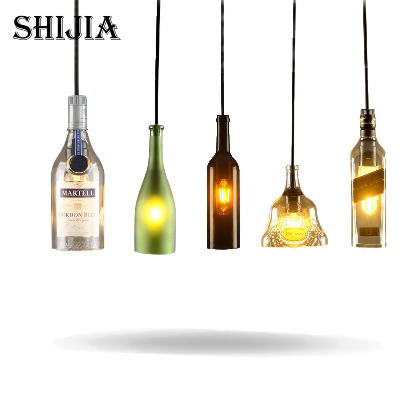 Mediterranean Sea LED Wine Bottle Glass Pendant Light for Dining Room Restaurant Bar Cafe Garment Shop Hanging Pendant Lamp <br>