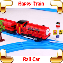 New Year Gift Happy Train Thomas Funny Train Toy Electric Machine For Kids Learning Game Vehicles Improve Children IQ DIY Fun