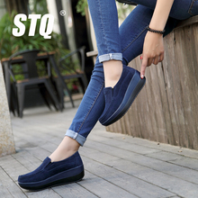 STQ 2017 spring women flat platform loafers shoes ladies suede leather casual shoes slip on flats Moccasins creepers slipony 828