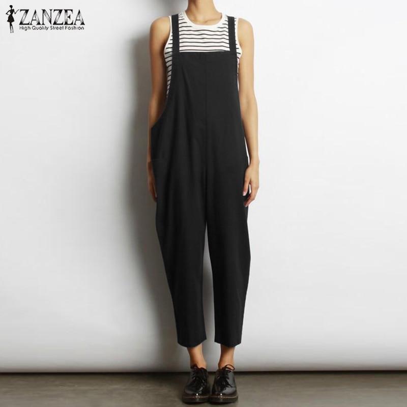 ZANZEA Womens Summer Sleeveless Strappy Loose Jumpsuit Playsuit Romper Dungaree