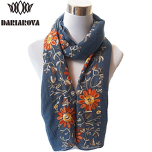 Big Size Floral Viscose Scarf Women Embroidered Scarf Hijab Autumn Warm Cotton Scarves and Wraps Lady Embroidery Shawl 90*180CM(China)