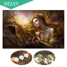 Meian,Special Shaped,Diamond Embroidery,Beauty,Lady,5D,Diamond Painting,Cross Stitch,3D,Diamond Mosaic,Decoration,Christmas(China)