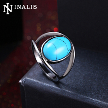 INALIS Unique Geometric Design Black Gold Color Finger Rings Women's Vintage Turquoises Ring for Wedding Party Costume Jewelry
