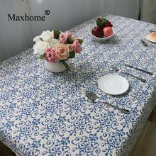 Retro Blue And White Tablecloths Chinese Classical Cotton Linen Table Cloths Toalha De Mesa Wedding Tablecloth Lace Tablecloth
