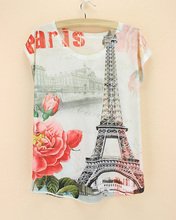 ropa mujer plus size t shirts eiffel tower flower camiseta vetement femme short sleeve cotton thin summer tops for female