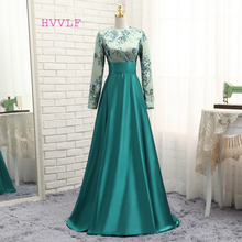 HVVLF Green Muslim Evening Dresses 2017 A-line Long Sleeves Satin Sequins Elegant Long Saudi Arabic Evening Gown Prom Dresses(China)