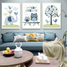 Tree Elephant Owl Cartoon Animals Canvas Art Print Painting Wall Art Picture for Home Decoration Nursery Baby Boys Kids Room