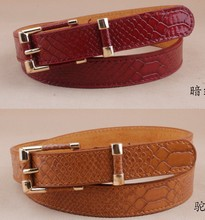 Free shipping new Belts fashion crocodile punk thin waist belt black red trench female genuine leather strap buckle women animal(China)