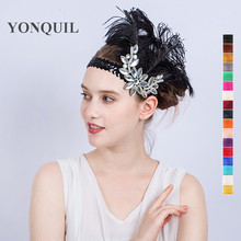 More colors Fashion Diamante Rhinestone Feather Headband Flapper Fancy Dress Costume Party fascinator Hair band Headpiece SYF180(China)