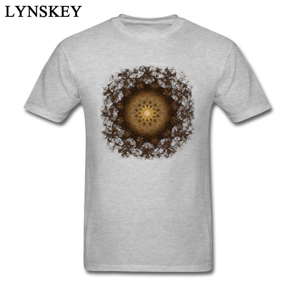 100% Cotton Tops Tees Copper Mandala for Boys Printed On T-Shirt Casual Prevailing Round Neck Short Sleeve Sweatshirts Copper Mandala grey