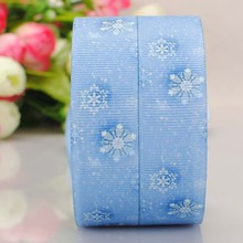 The snow white snow blue 25mm color printing ribbon DIY polyester ribbon Roman Tam hair 0311(China)