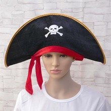 Halloween Skull Hat Pirate Captain Hat Polyester Corsair Cap Party Supplies(China)