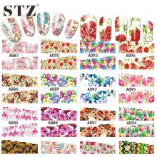 STZ 1 Sheets Nail Decals Water Transfer Full Cover Flowers Temporary Tattoos Manicure Stencil Nail Art Tools Stickers A080-096