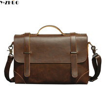 Hot Sale crazy horse leather man handbags high quality business tote vintage men messenger bags men shoulder Laptop bags(China)