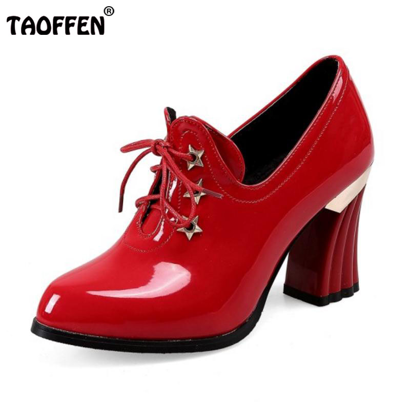 TAOFFEN Size 32-48 Ladies High Heels Ankel Boots Women Pointed Toe Cross Strap Patent Leather Thick Heels Boot Soft Botas Mujer<br>