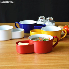 Modern Colorful Ceramic Double Bowls Breakfast Bowl Soup and Cracker Ceramic Mug Bowl Tableware Home Dining Accseeories Supplies