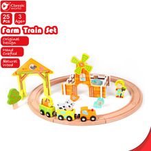 CLASSIC WORLD Farm  Train  Set toy children's enlighten Wooden learning toy