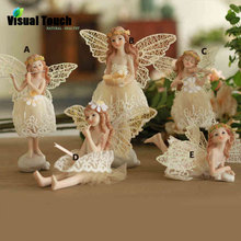 Tabletop Decoration Resin Craft Swing Girl Wing Decorative Angel Sculpture Home Decor Birthday Gift Fairy Set