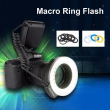 Excelvan CN48 Marco LED Ring Flash Light for DSLR Camera with Four Diffusers 8 Adapter Rings For Nikon Canon Panasonic Pentax