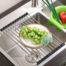 New  1 Pcs Green Hot Pink Sink Storage Dish Drying Rack Holder Fruit Vegetable Drainer Colanders Kitchen Accessories