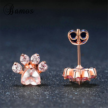 Bamos Female Cute Cat Bear Dog Paw Stud Earrings Rose Gold Zircon Claw Earrings For Women Girls Fashion Valentine's Day Gift(China)