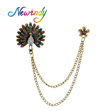 Newindy Antique Gold-Color With Colorful Rhinestone Peacock Shape Brooches Pins With Multi Layers Chain For Lady Accessories